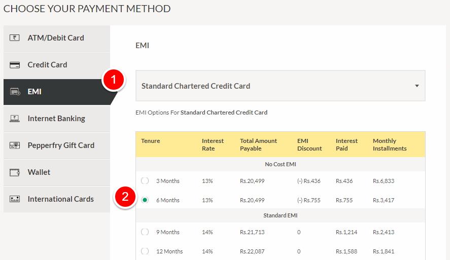 EMI Payment Option