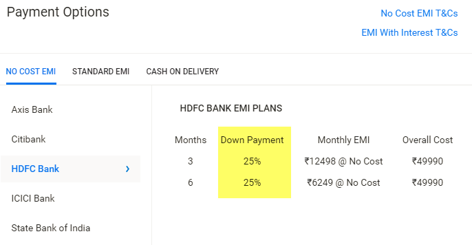 View No Cost EMI Details with Downpayment